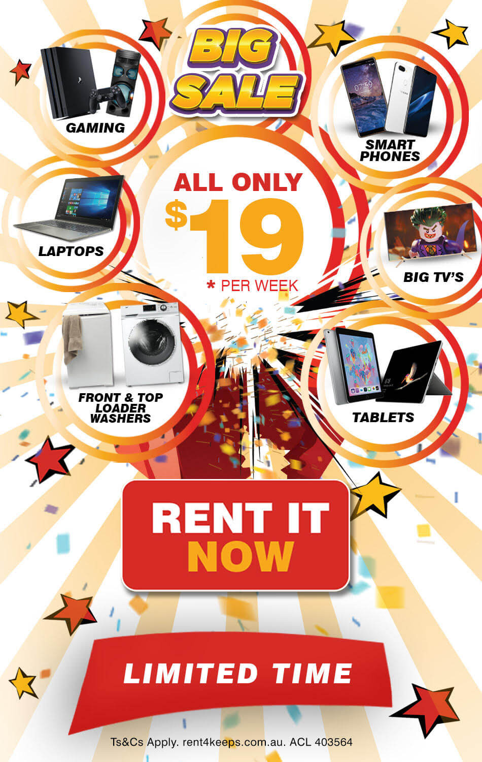 Rent4Keeps Big $19 Sale: Rent to own selected products for just $19 a week